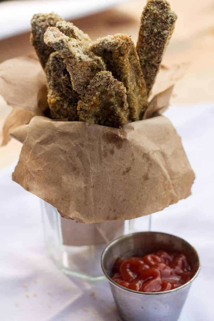 Bouquet of Portobello baked fries with a side of ketchup