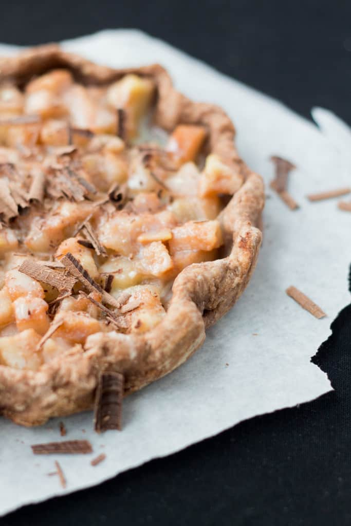 Partial view of a Chocolate pear tart