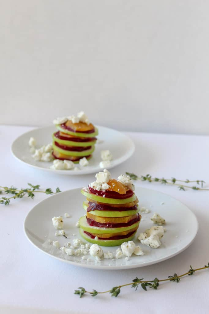 Beet and Apple Carpaccio With Feta from the side