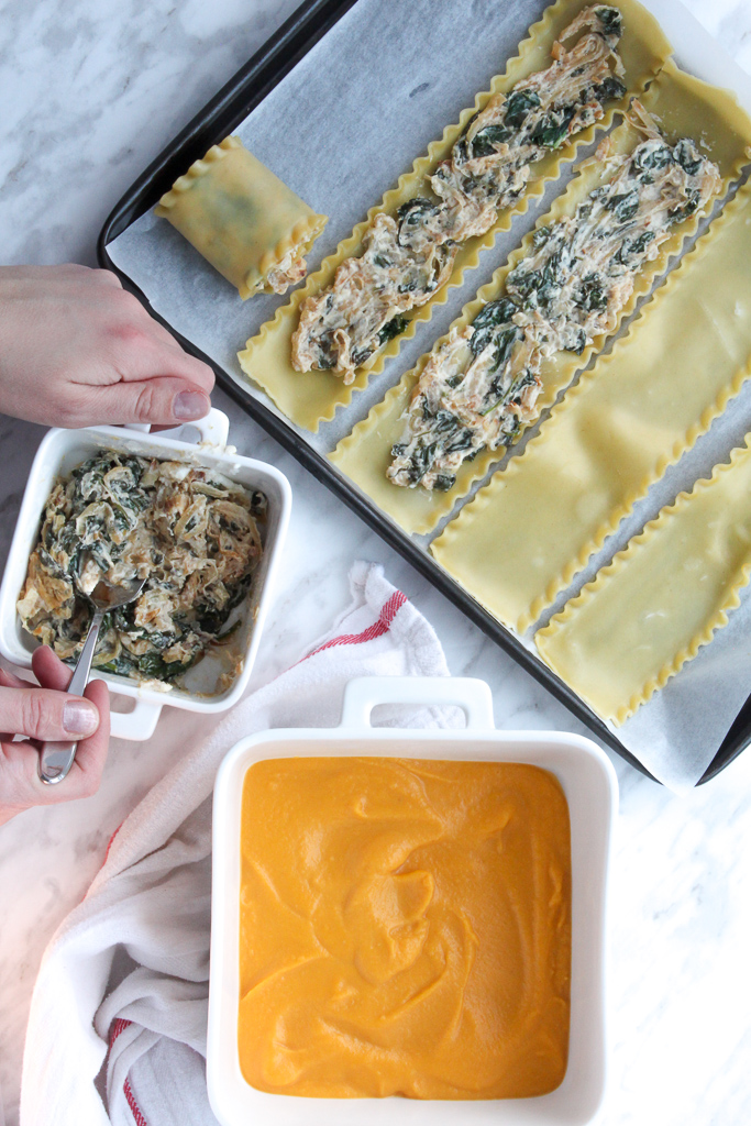 Spinach-Goat cheese roll-ups creamy butternut squash