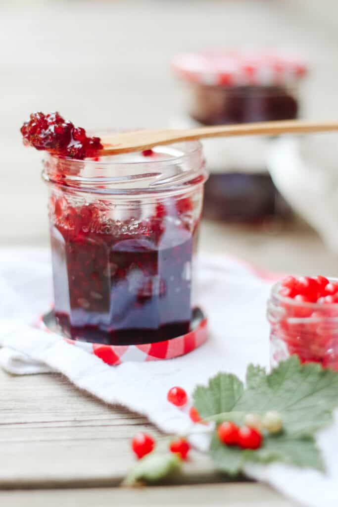 Close up on a jar of red currant with fresh fruits aroudn